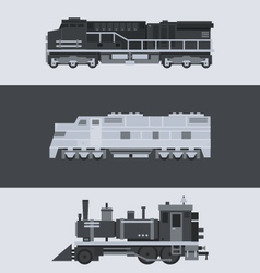 Flat design of train locomotive set vector