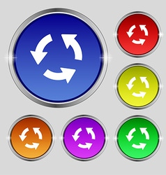 Refresh icon sign round symbol on bright colourful vector