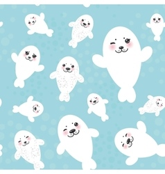 Seamless pattern funny white fur seal pups cute vector