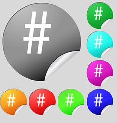 Hash tag icon set of eight multi colored round vector