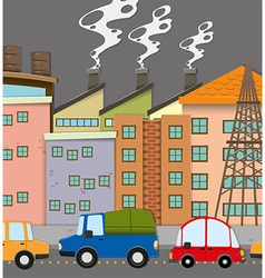 Cars on road and many buildings vector