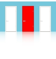 Doors on a blue wall vector