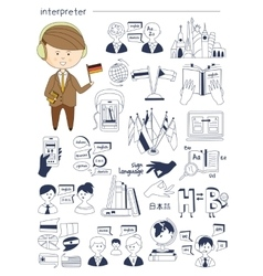Interpreter linguist teacher tutor doodle style vector