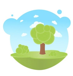 trees and clouds vector image