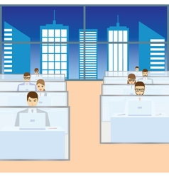 People working in the office call center vector