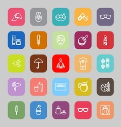 Facial and body treatment line flat icons vector