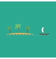 Ship sailing near the island with palm trees vector