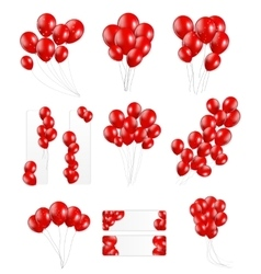 Big set of red balloons vector