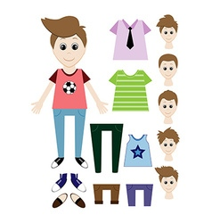 Big set of clothes for the boy constructor vector