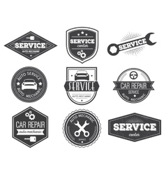 Auto service black white emblems vector