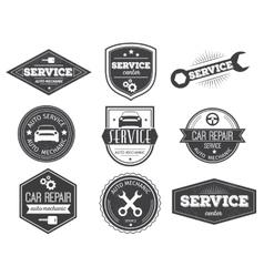 Auto Service Black White Emblems vector image vector image