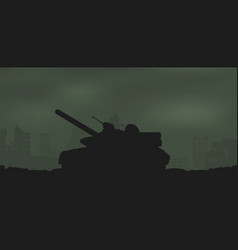 Battle tank and destroyed houses vector