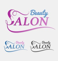 Beauty salon logo design with female face in negat vector image
