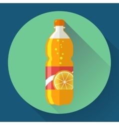 Bottle with orange soda liquid flat vector