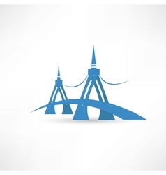 bridge over the river abstraction icon vector image