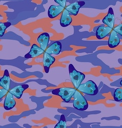 Butterfly on the blue military background pattern vector image