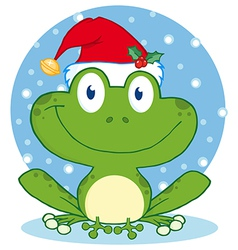 Christmas Happy Frog vector image vector image