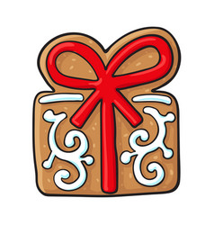 Christmas present gift box gingerbread cookie vector