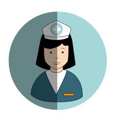 Circular frame with female nurse vector