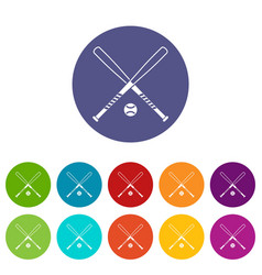 Crossed baseball bats and ball set icons vector