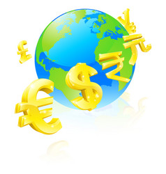 currencies signs globe concept vector image vector image