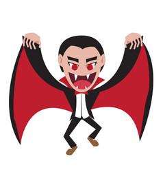 Dracula with wing cape in flat style vector