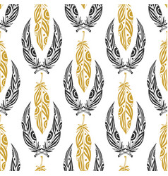 Ethnic seamless pattern with beauty feathers vector