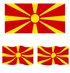 Flat and waving flag of republic of macedonia vector