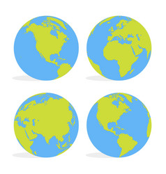 Green and blue cartoon world map globe set vector