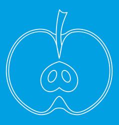 Half apple icon outline style vector