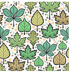 Hand drawn green leaves seamless pattern vector