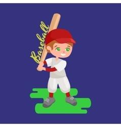 Happy boy playing baseball kids sport childrens vector