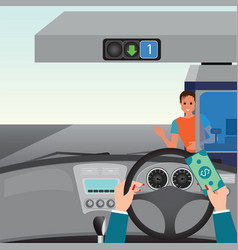 human hands driving a car and showing car paying vector image