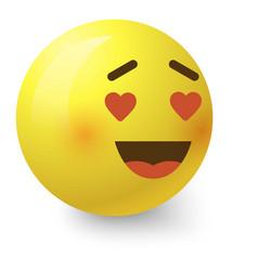 In love smiley icon cartoon style vector
