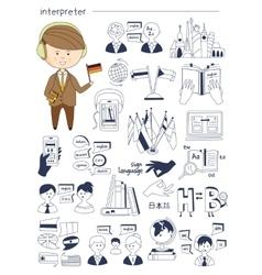 Interpreter linguist teacher tutor doodle style vector