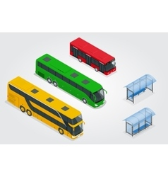 Isometric double decker bus city public bus and vector