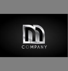 m silver metal alphabet letter icon design vector image