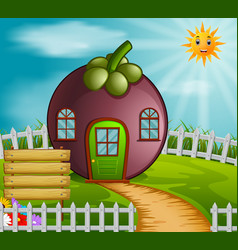 Mangosteen house in garden vector