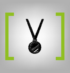Medal simple sign black scribble icon in vector