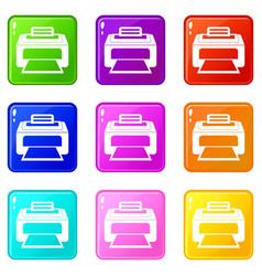 modern laser printer icons 9 set vector image vector image