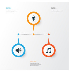 multimedia icons set collection of music sound vector image vector image