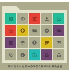 Office 1 icon set Multicolored square flat vector image
