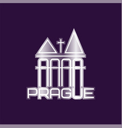 prague symbol with church building or vector image
