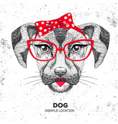 Retro hipster animal dog hand drawing muzzle vector