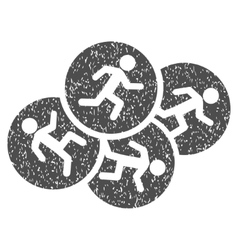 Running Men Grainy Texture Icon vector image