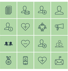 Set of 16 communication icons includes profile vector