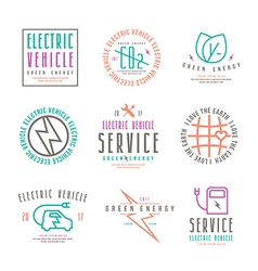 Set of electric car labels vector