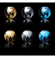 Set of silver gold and blue globe in black vector