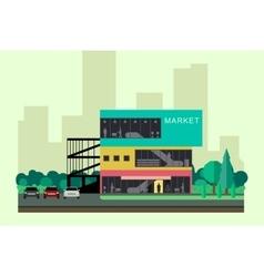 Shopping mall building vector