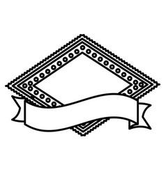 Silhouette heraldic diamond shape stamp with vector